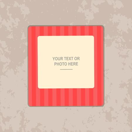 kid portrait: Photo frame on vintage background. Album template for kid, baby, family or memories. Scrapbook concept, vector illustration. Illustration