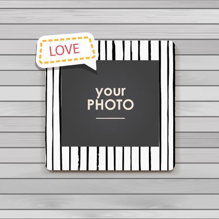 feminine background: Photo frame Album template for kid, baby, family or memories. Scrapbook concept, vector illustration. Illustration