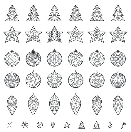 decoration elements: Decoration elements for Christmas in geometric style