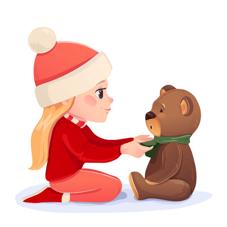 new baby: Vector New year christmas card. Illustration girl with a bear. Cute friendship