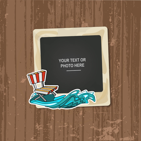 family memories: Photo frame Album template for kid, baby, family or memories. Scrapbook concept, vector illustration. Illustration