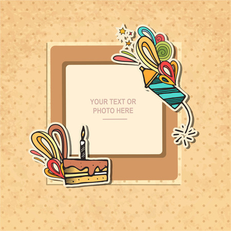 scrapbook frame: Photo frame Album template for kid, baby, family or memories. Scrapbook concept, vector illustration. Illustration