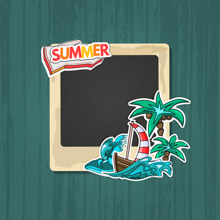 scrapbook frame: Photo frame Album template for kid, baby, family or memories. Scrapbook concept, vector illustration. Illustration