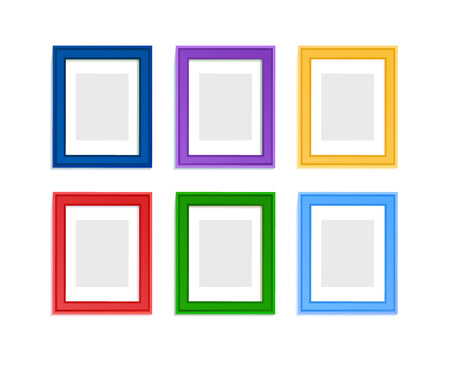 picture person: Multi colored photo frames for children picture composed in composition.