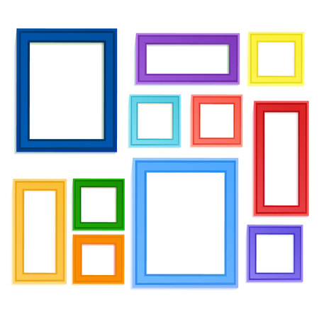 Multi colored photo frames for children picture composed in composition.