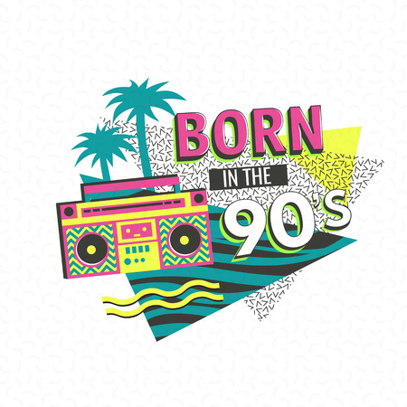 90: Template memphis poster or invitation for carnival with geometric ornaments elements. Back to the 90 s. Vector background in trendy 80s-90s .