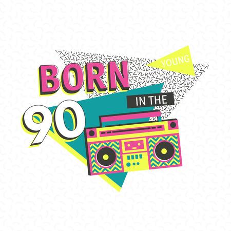 poster memphis modèle ou une invitation pour le carnaval avec des éléments ornements géométriques. Retour aux 90 s. Vecteur de fond dans les années 80 des années 90 à la mode.