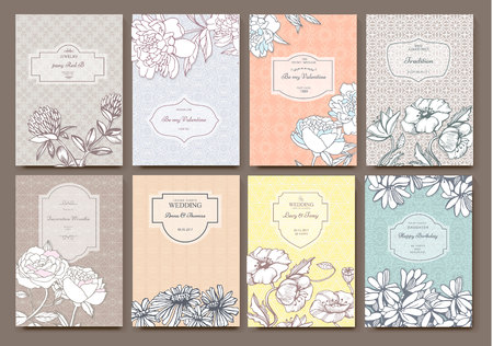 flower  hand: Set of Isolated creative background cards. Hand drawn elements. Vector template banners for card, poster, invitation, flyer, party, wedding, brochure. Flower design collection - stock vector Illustration