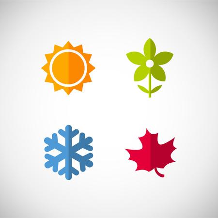 Vector season icons. Four seasons icon symbol vector illustration. Weather Ilustração