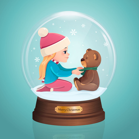 winter tree: Glass Toy. Snow realistic globe with girl and bear.