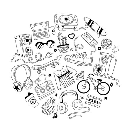 Hipster collage in cartoon style. Templates elements of bicycle, headphone, music and style. Vector illustration.