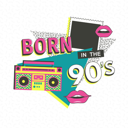 logo music: Template memphis poster with photo frame, lips and geometric ornaments elements. Back to the 90 s. Vector background in trendy 80s-90s.