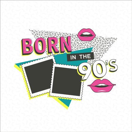Affiche de modèle memphis avec cadre photo, lèvres et éléments d'ornements géométriques. Retour aux 90 s. Contexte vectoriel dans les années 1980 à la mode.