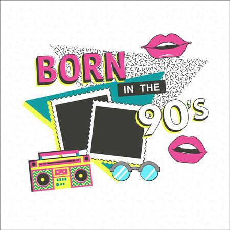 Sjabloon memphis poster met fotolijst, lippen en geometrische ornamenten elementen. Terug naar de 90 s. Vector achtergrond in trendy 80s-90s.