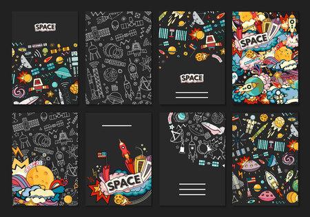공간 벡터 일러스트 레이 션. 달, 행성, 로켓, 지구, 우주 비행사, 혜성 우주 분류 유창한 방법 osmos