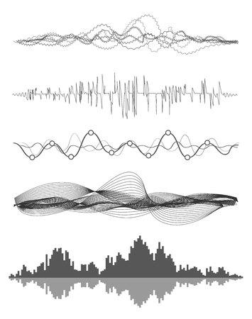 Vektor Musik Schallwellen eingestellt. Audio digitale Equalizer-Technologie, Konsole Panel, Puls Musical.
