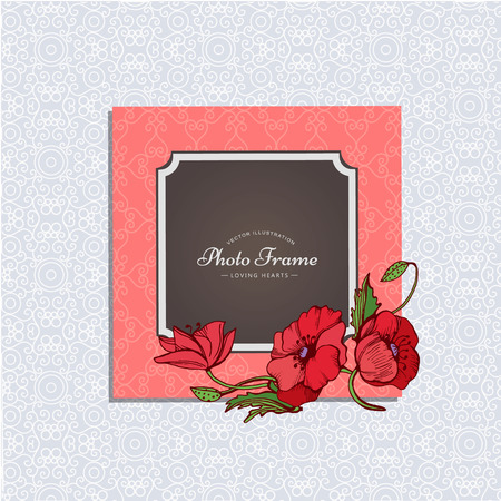 snapshots: Photo frame with flower. Album template for kid,baby, girl, family or memories. Scrapbook concept, vector illustration.