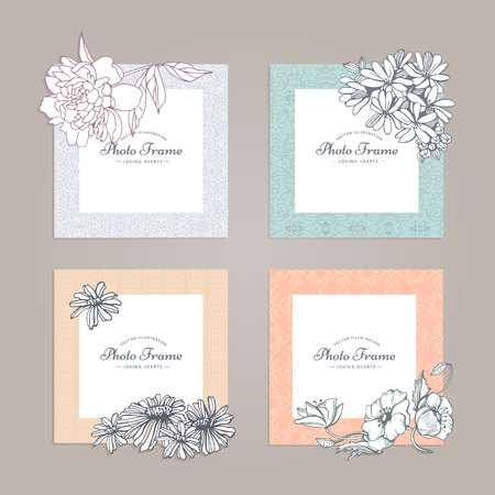 photo album: Photo frame with flower. Album template for kid,baby, girl, family or memories. Scrapbook concept, vector illustration.