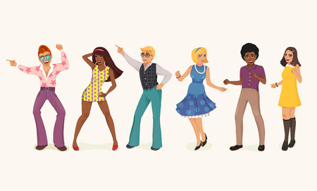 adolescent sexy: Dancing people in a retro disco. Man and woman in 60s, 70s style. Cartoon vector illustration.