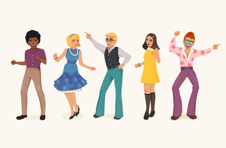 Dancing people in a retro disco. Man and woman in 60s, 70s style. Cartoon vector illustration.
