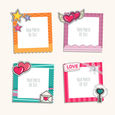 love couples: Photo frame with heart, love and romantic. Album template for couples, kid, girl, family or memories. Scrapbook concept, vector illustration.