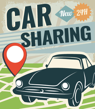 renting: Car sharing graphic design. Car to share vector Illustration. Renting service.