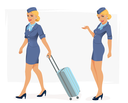 Vector illustration of smiling stewardess in blue suit. Illustration