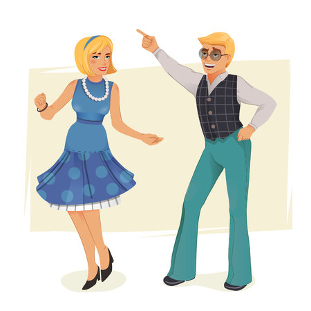 Dancing people in retro style. Illustration