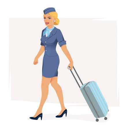 illustration of smiling stewardess Illustration
