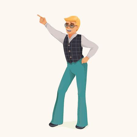 Dancing retro man