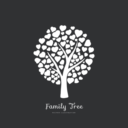 Liebesbaum mit geformtem Blatt des Herzens. Natur. Einfarbige Schattenbildillustration des Vektors. Schwarzweiss-Farbe. Vektorgrafik