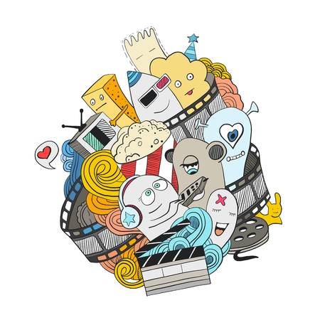 Cute cartoon monsters in a film reel. Illustration