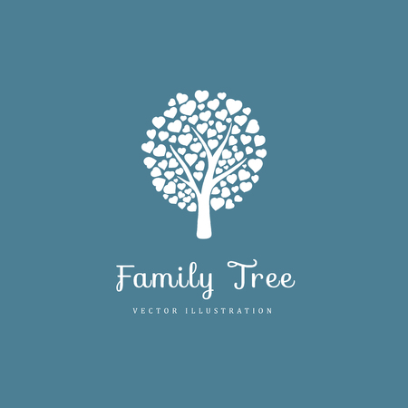 Family tree with hearts 向量圖像