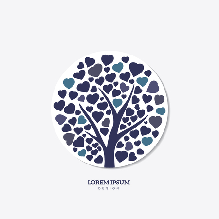 Family tree with leafs of hearts. Nature. Beautiful vector silhouette illustration. Illustration