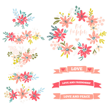 Collection of flower dividers vector illustration
