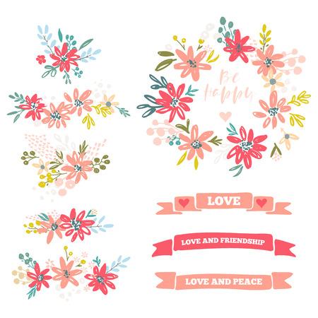 花の仕切りベクトルイラストのコレクション