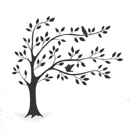Tree with leaves and birds