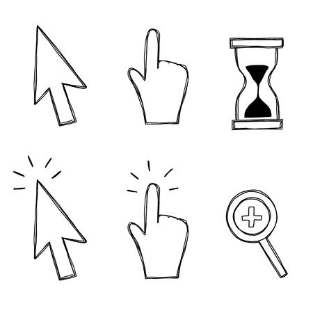 Cursor, hand and hourglass