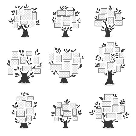 Stammbäume mit Fotorahmen. Vektorgrafik