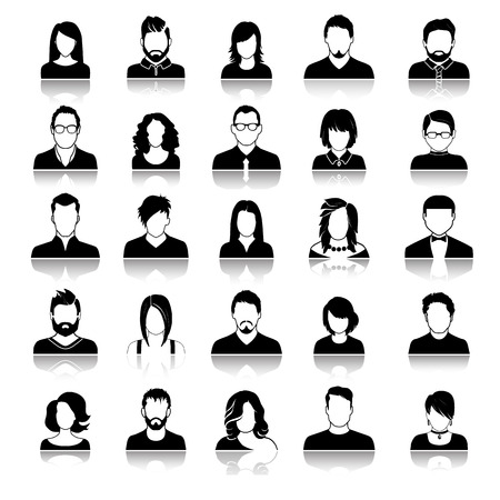 Set of avatar or user icons. Vector illustration. Silhouette of man and woman. Business people. Vettoriali