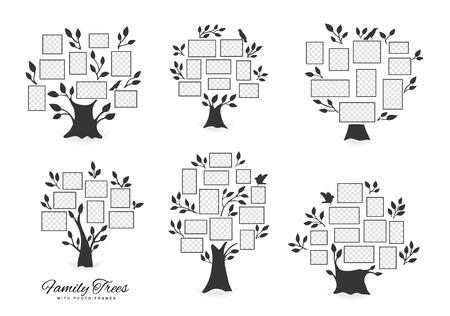 Stammbaum mit Bilderrahmen. Erinnerungen. Fügen Sie Ihr Foto in Vorlagenrahmen ein. Collage-Vektor-Illustration.