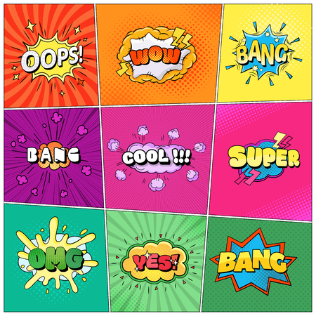Set of speech bubbles comic clouds. Thought, speech bubble, dream cloud. Wow, boom, cool, lol yes bang super Vector illustration Illustration