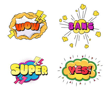 Set of speech bubbles comic clouds. Thought, speech bubble, dream cloud. Wow, boom, cool, lol yes bang super Vector illustration Stock Illustratie
