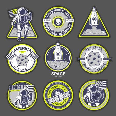 Space logo design elements. Beautiful illustration for sign, design brochure, invitation. Cosmos Illustration