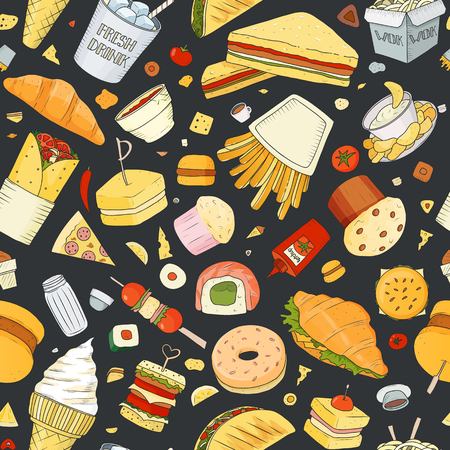 Seamless pattern of Vector illustration Cartoon style. Fast food objects. This collection include hamburger, snack, burger, french fries, barbecue, drinks and other items. Archivio Fotografico - 128440387