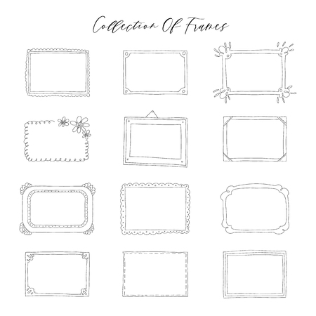 Decorative set template photo frames isolated on white background. Scrapbook concept. These photo frames you can use for kids picture or your love story. Vector illustration. Vetores