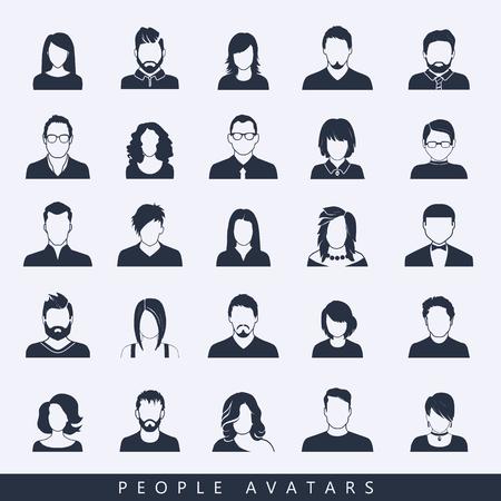 Satz von Avatar- oder Benutzersymbolen. Vektorillustration. Silhouette von Mann und Frau. Geschäftsleute.