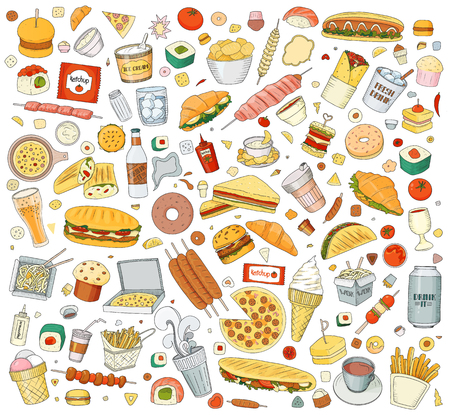 Set of Vector illustration Cartoon style. Fast food objects. This collection include hamburger, snack, burger, french fries, barbecue, drinks and other items. Çizim
