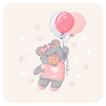 Cute bear flying with a balloon. Happy Birthday. Ilustracja