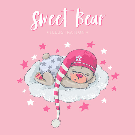 Cute sleeping bear with pink clothes and beautiful stars. Place for text. Vector illustration. Illustration for children. Ilustracja
